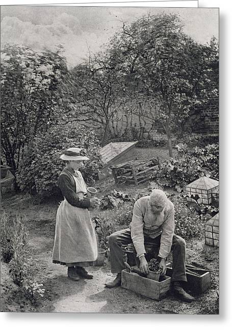 Garden Art Greeting Cards - An Old Man and his Daughter Gardening Greeting Card by Peter Henry Emerson