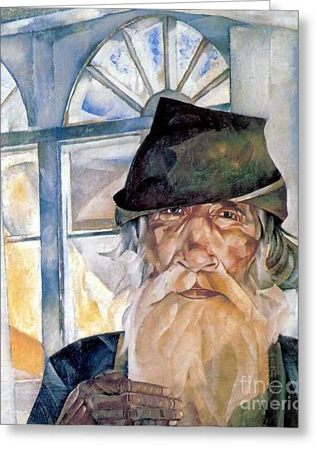 Orthodox Paintings Greeting Cards - An old man from Olonets Greeting Card by Boris Grigoriev