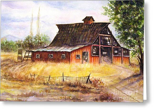 Red Roofed Barn Greeting Cards - An Old Red Barn Greeting Card by Hazel Holland