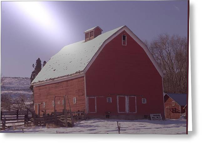 Things Light Greeting Cards - An Old Red Barn  Greeting Card by Jeff  Swan