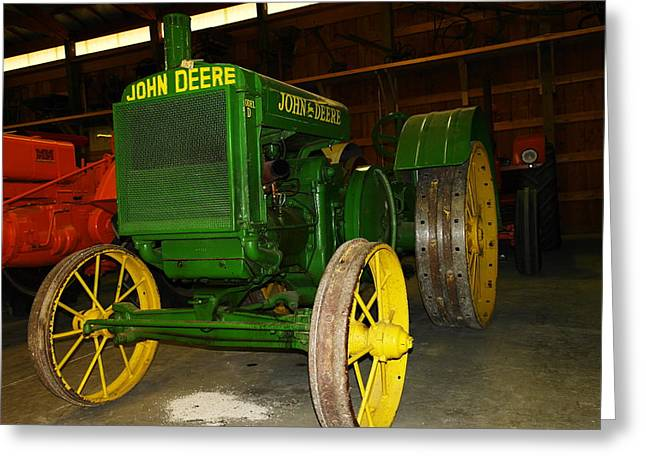 Old Relics Greeting Cards - An old restored John Deere Greeting Card by Jeff  Swan