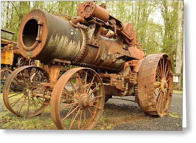 Logging Tractor Greeting Cards - An Old Steam Tractor Greeting Card by Jeff  Swan