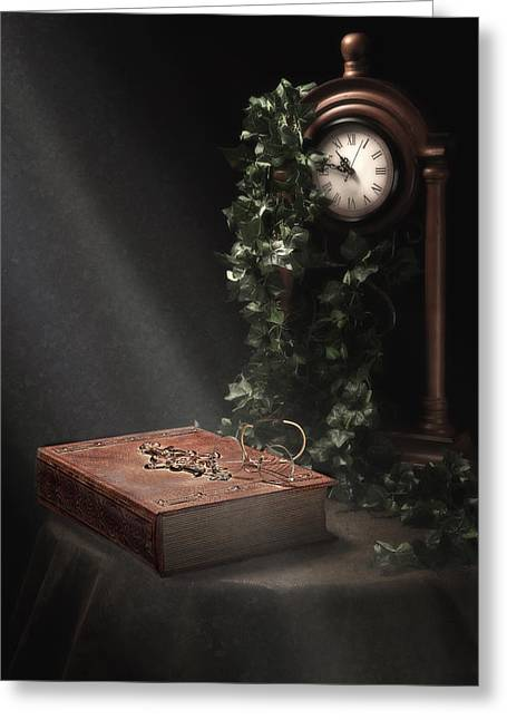 Large Clocks Greeting Cards - An Old Tome Still Life Greeting Card by Tom Mc Nemar