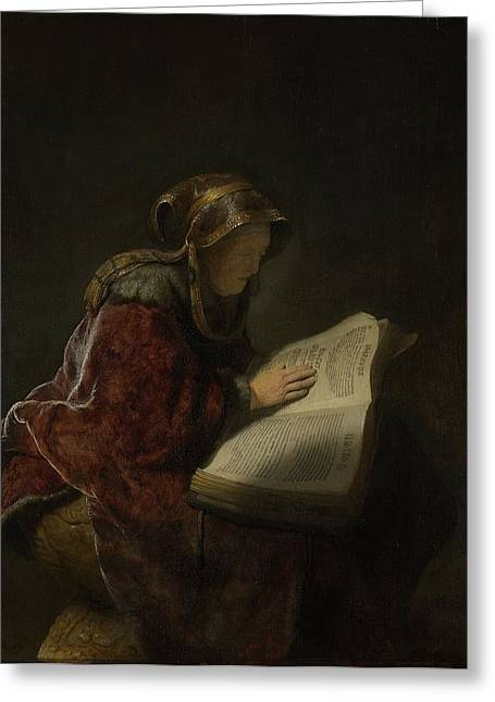 Elderly Female Greeting Cards - An Old Woman Reading, Probably The Prophetess Hannah, 1631 Oil On Panel Greeting Card by Rembrandt Harmensz. van Rijn
