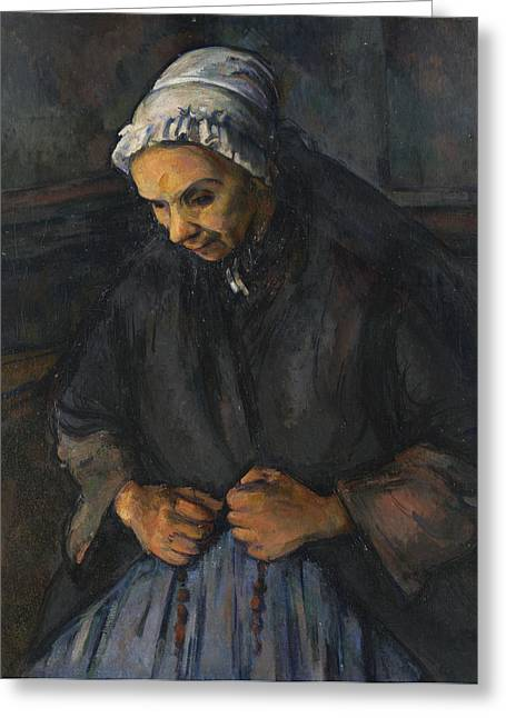 Rosary Greeting Cards - An Old Woman with a Rosary Greeting Card by Paul Cezanne