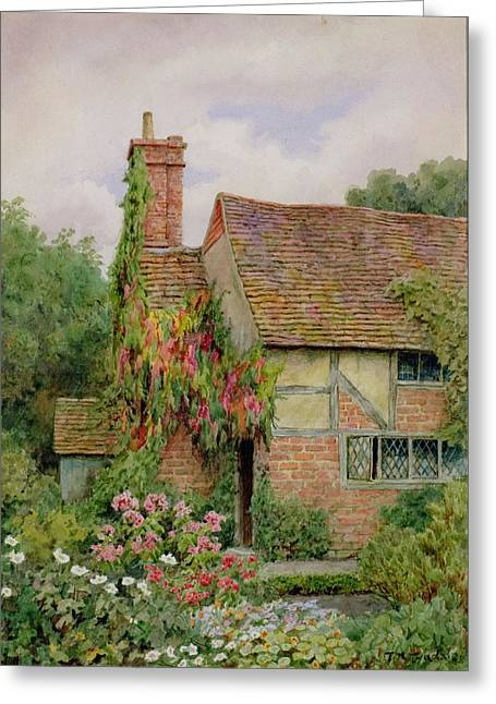 Picturesque Greeting Cards - An Old World Cottage Garden Greeting Card by Thomas Nicholson Tyndale