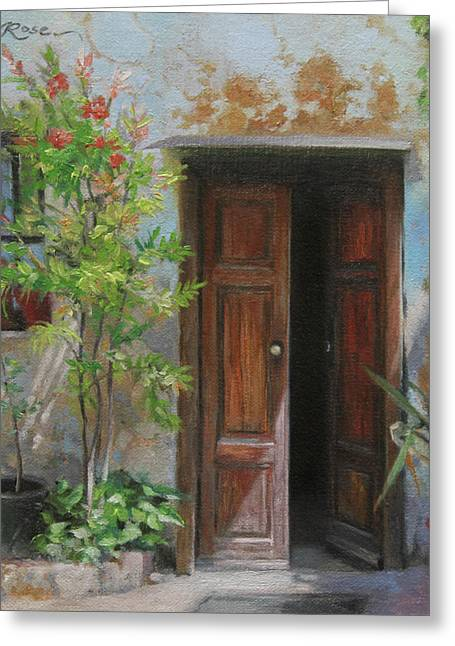 An Open Door Milan Italy Greeting Card by Anna Rose Bain