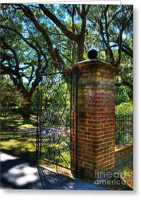 Wrought Iron Gate Greeting Cards - An Open Gate 2 Greeting Card by Mel Steinhauer