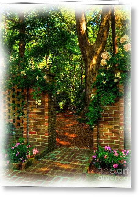 Roanoke Island Greeting Cards - An Open Gate Greeting Card by Mel Steinhauer