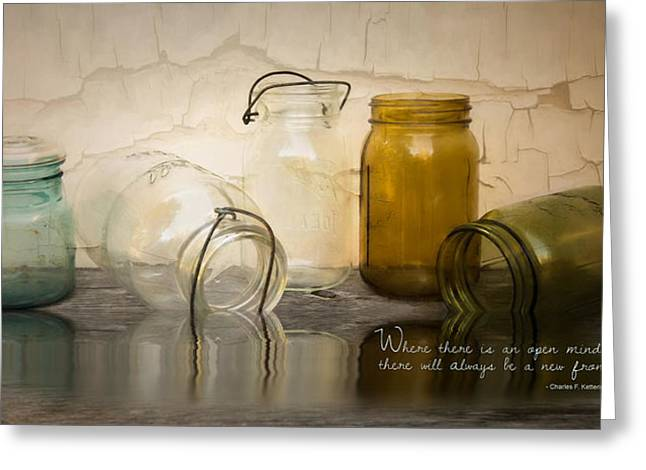 Water Jars Greeting Cards - An Open Mind Greeting Card by Robin-lee Vieira