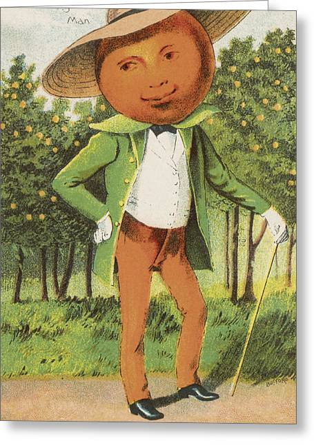 Person Drawings Greeting Cards - An Orange Man Greeting Card by Aged Pixel