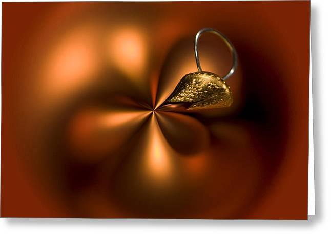Coloured Greeting Cards - An Orb of Orange Greeting Card by Anne Gilbert