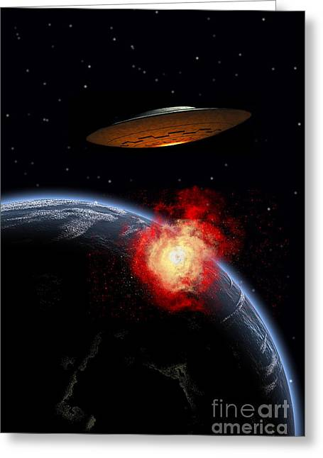 Journeys End Greeting Cards - An Orbiting Ufo Launches A Deadly Greeting Card by Mark Stevenson