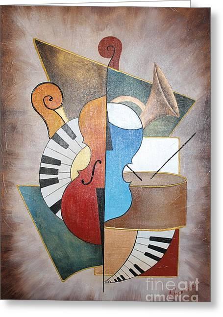 Violine Greeting Cards - An Orchestra I Greeting Card by Mariya Kazarinova