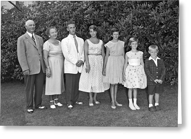 An Outdoors Family Portrait Greeting Card by Underwood Archives