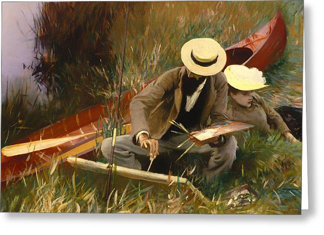 Canoe Paintings Greeting Cards - An Outdoors Study Greeting Card by John Sargent