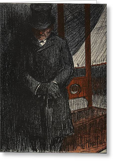 Umbrella Drawings Greeting Cards - An Undertaker Awaits His Next Victim Greeting Card by Eugene Cadel
