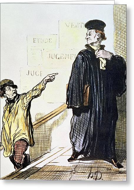 Solicitor Greeting Cards - An Unsatisfied Client, From The Series Les Gens De Justice, C.1846 Colour Litho Greeting Card by Honore Daumier