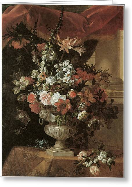 Jean-baptiste Art Greeting Cards - An Urn of Flowers Greeting Card by Jean Baptiste Monnoyer
