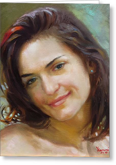 Portrait Oil Greeting Cards - Ana 2010 Greeting Card by Ylli Haruni