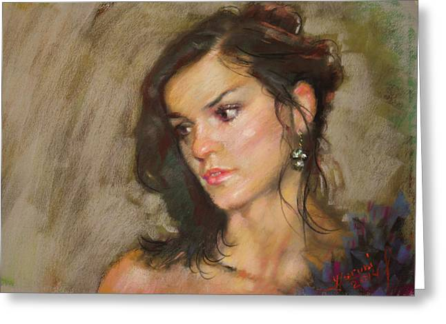 Pastel Portrait Greeting Cards - Ana with an Earring Greeting Card by Ylli Haruni