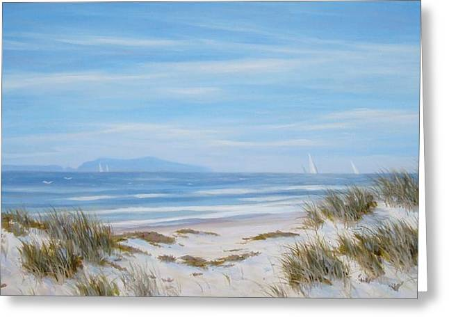Sand Dunes Paintings Greeting Cards - Anacapa And Santa Cruz Island Thru The Dunes Greeting Card by Tina Obrien