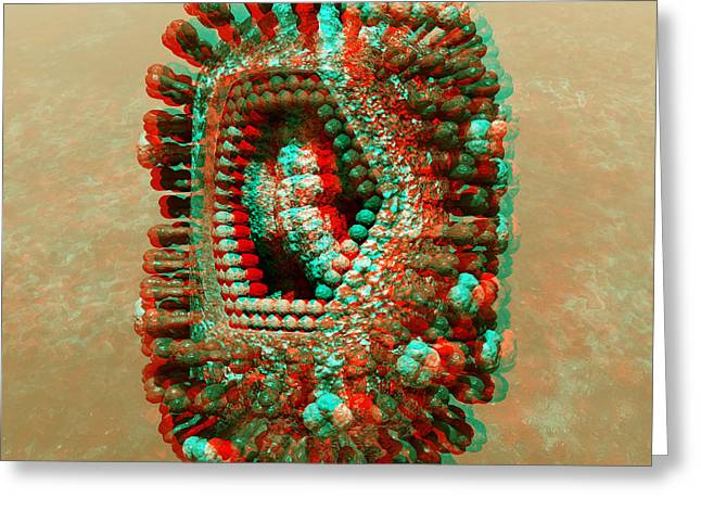 Anaglyph Of Influenza Virus Cutaway Showing Internal Structure 1 Greeting Card by Russell Kightley