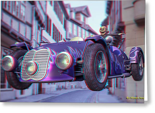 Old Digital Art Greeting Cards - Anaglyph Old Car  Greeting Card by Ramon Martinez