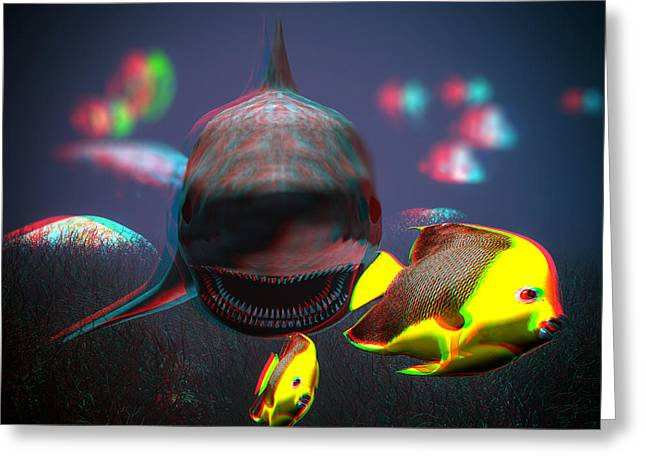 Shark Digital Art Greeting Cards - Anaglyph Shark and Fishes Greeting Card by Ramon Martinez