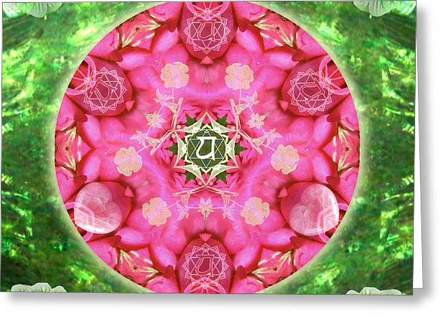 Anahata Rose Greeting Card by Alicia Kent