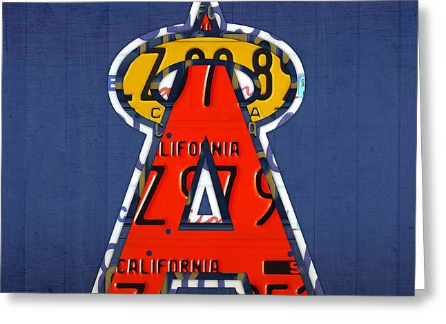 Anaheim California Greeting Cards - Anaheim California Angels Vintage Baseball Logo License Plate Art Greeting Card by Design Turnpike