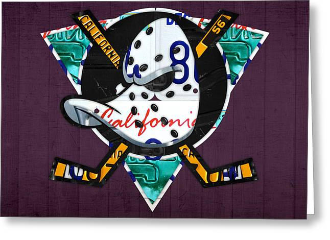 Anaheim Greeting Cards - Anaheim Ducks Hockey Team Retro Logo Vintage Recycled California License Plate Art Greeting Card by Design Turnpike