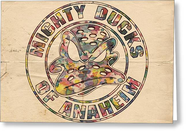 Goaltender Greeting Cards - Anaheim Mighty Ducks Vintage Poster Greeting Card by Florian Rodarte