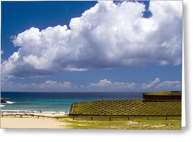 Historic Site Greeting Cards - Anakena Beach with Ahu Nau Nau moai statues on Easter Island Greeting Card by David Smith