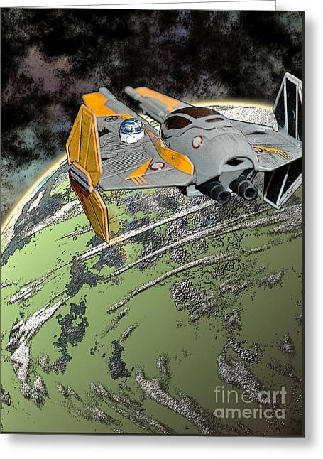 Starfighter Greeting Cards - Anakins Jedi Starfighter Greeting Card by Colin Hunt