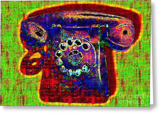 Analog Digital Art Greeting Cards - Analog A-Phone - 2013-0121 - v2 Greeting Card by Wingsdomain Art and Photography