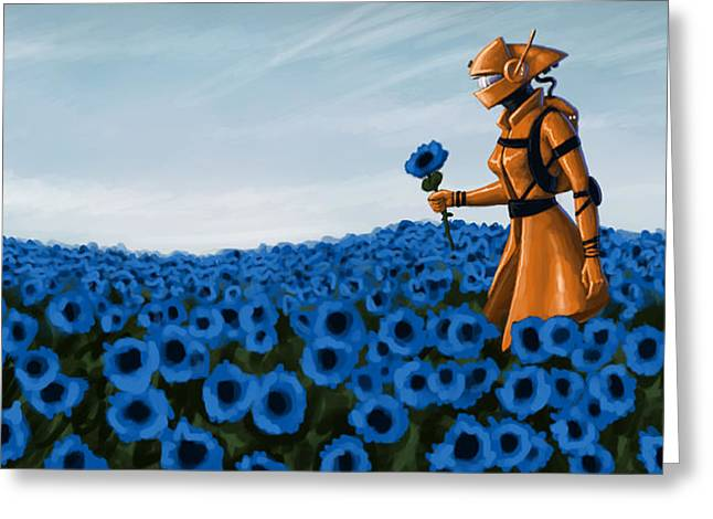 Blue Flowers Greeting Cards - Analogue Greeting Card by Mark Zelmer