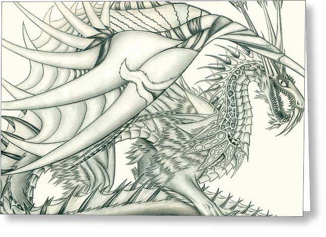 Anare'il The Chaos Dragon Greeting Card by Shawn Dall