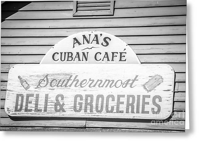 Origin Greeting Cards - Anas Cuban Cafe Key West - Black and White Greeting Card by Ian Monk