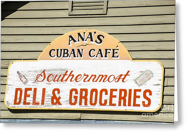Liberal Greeting Cards - Anas Cuban Cafe Key West Greeting Card by Ian Monk