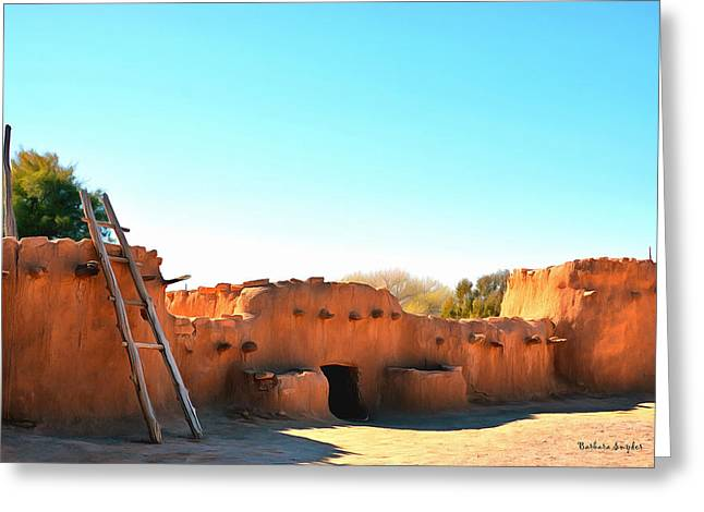 Cliffs And Houses Greeting Cards - Anasazi Pueblos 2 Greeting Card by Barbara Snyder