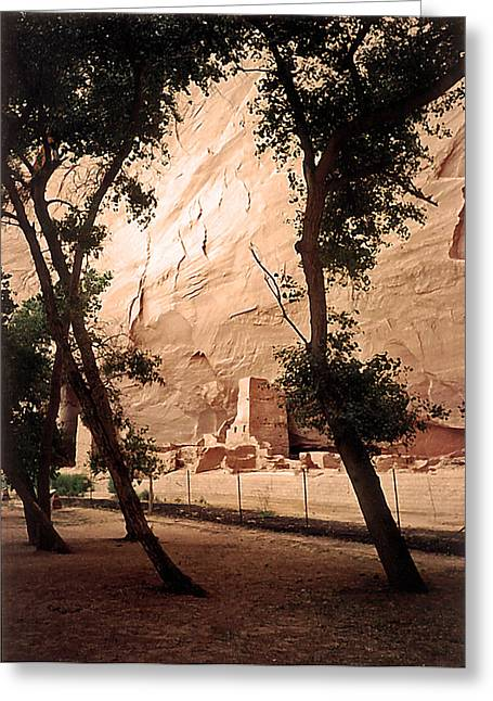 Del Muerto Greeting Cards - Anasazi Ruins Canyon de Chelly 1993 Greeting Card by Connie Fox