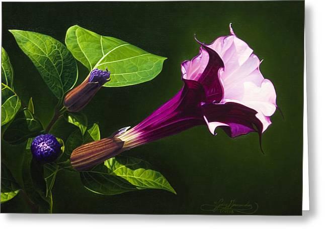 Datura Paintings Greeting Cards - Anastacias Datura Greeting Card by Gary  Hernandez