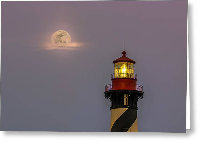 Sea Moon Full Moon Greeting Cards - Anastasia Lighthouse by Moonlight Greeting Card by Rob Sellers