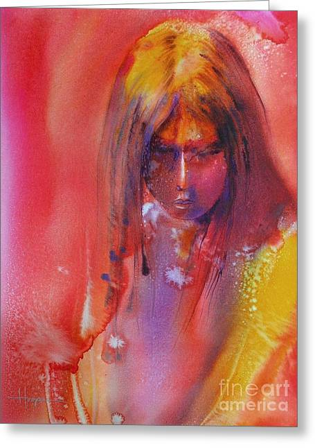 Native American Girl Greeting Cards - Anastasia Greeting Card by Robert Hooper