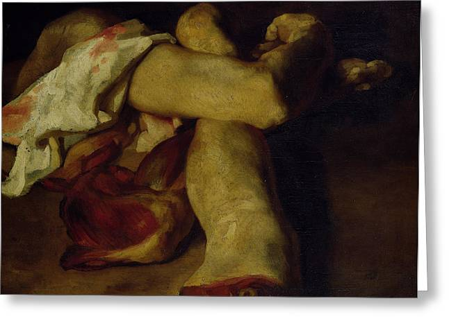 Anatomical Pieces Oil On Canvas Greeting Card by Theodore Gericault