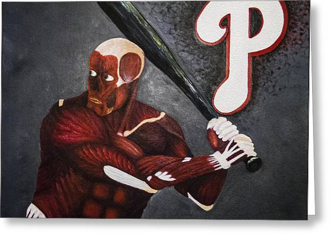 Phillies Mixed Media Greeting Cards - Anatomy at Bat Greeting Card by Leslie Ann Hammer