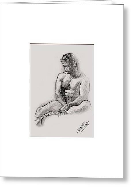 Pencil Drawing Digital Art Greeting Cards - Pencil study by Quim Abella Greeting Card by Joaquin Abella