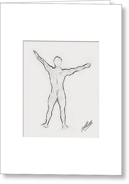 Abstract Digital Drawings Greeting Cards - Anatomy study Greeting Card by Joaquin Abella