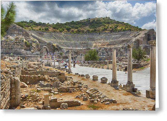 Library Of Celsus Greeting Cards - Ancient Broadway Greeting Card by Stephen Stookey